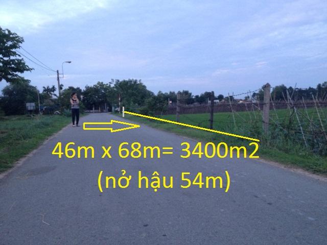 Bán 3.400m2 đất mặt tiền khu dân cư Phước Thạnh Củ Chi giá 400 ngàn /1m2