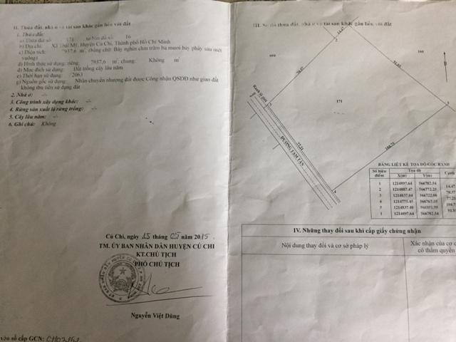 7.937m2 đất vườn đường đất đỏ xã Thái Mỹ Củ Chi giá 4 tỷ