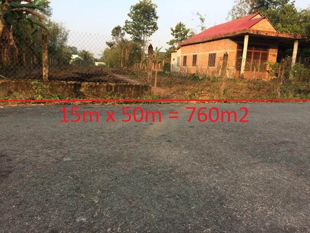 Đất 15x50=760m2 mặt tiền đường nhựa số 692 xã Thái Mỹ Củ Chi giá 750 triệu