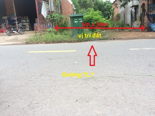 Chính chủ bán lô đất mặt tiền TL.7 (5m x 36m =176m2). Xã Thái Mỹ -H.Củ Chi –TP.Hồ Chí Minh giá 520tr