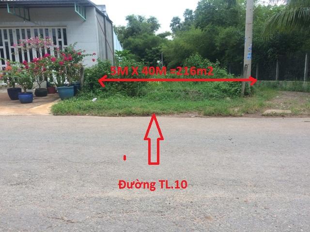 Chính chủ bán lô đất 2 mặt tiền đường TL.10 (5m x 40m =216m2). Xã Thái Mỹ -H.Củ Chi –TP.Hồ Chí Minh giá 480tr.